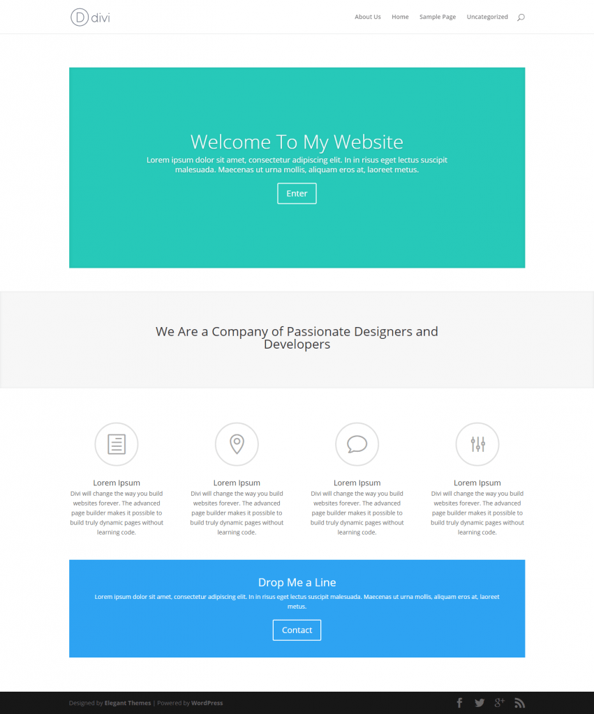 Designed by elegant themes powered by wordpress - Elegant Themes Divi Wordpress Twenty Sixteen