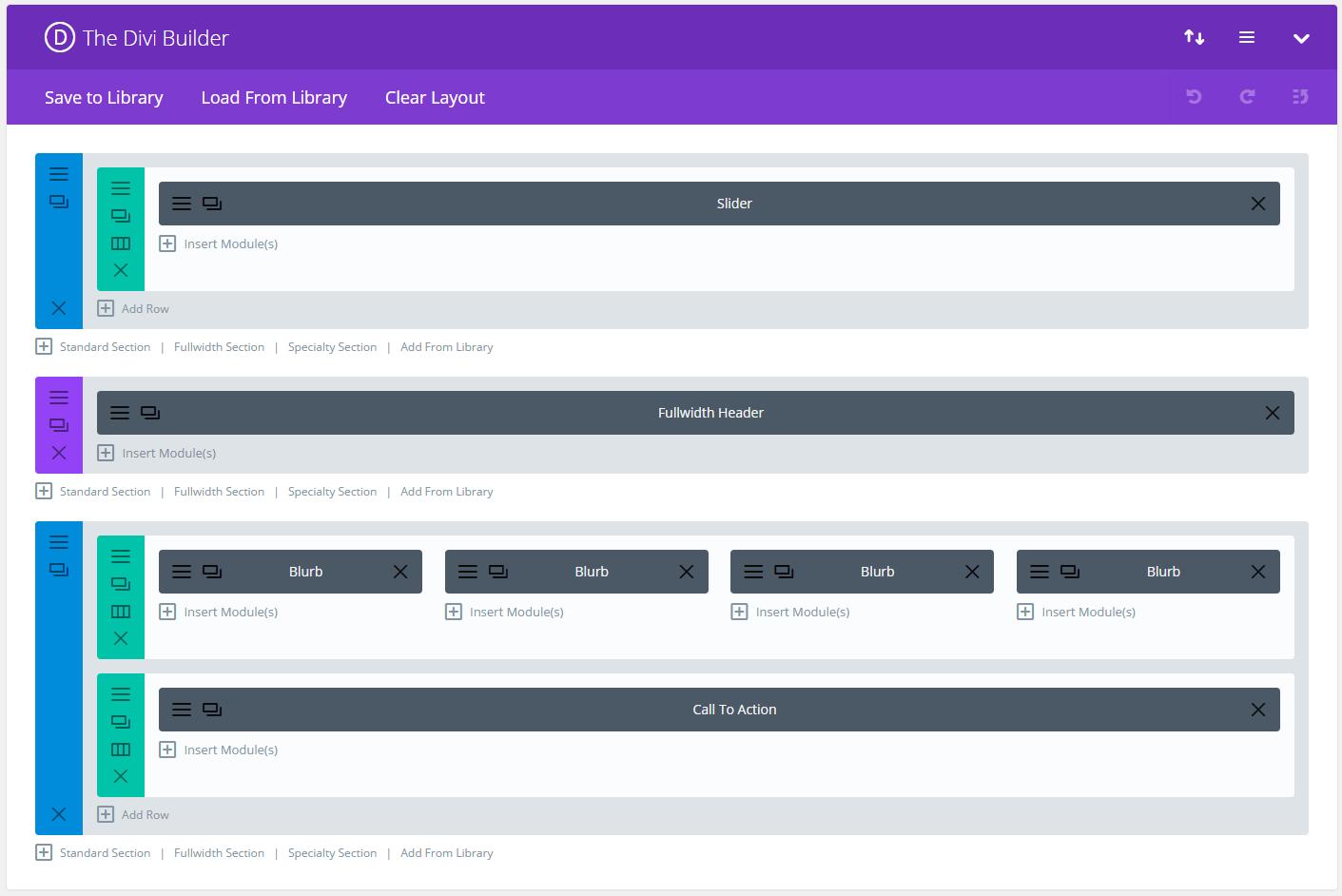 Divi Builder layout manager