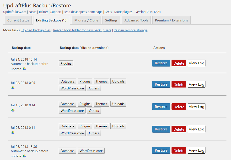 A look at UpdraftPlus' restore interface.